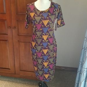 LuLaRoe Julia dress, geometric figures, NWT